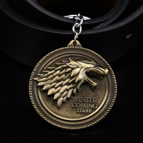 Game of Thrones House Stark Head Targaryen Baratheon 3D Metal Keyring Keychain 9