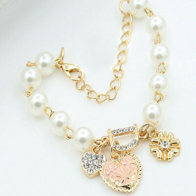 Fashion Gold Plated Women's Jewelry Crystal Heart Bangle Pearl Bracelet Hot 4