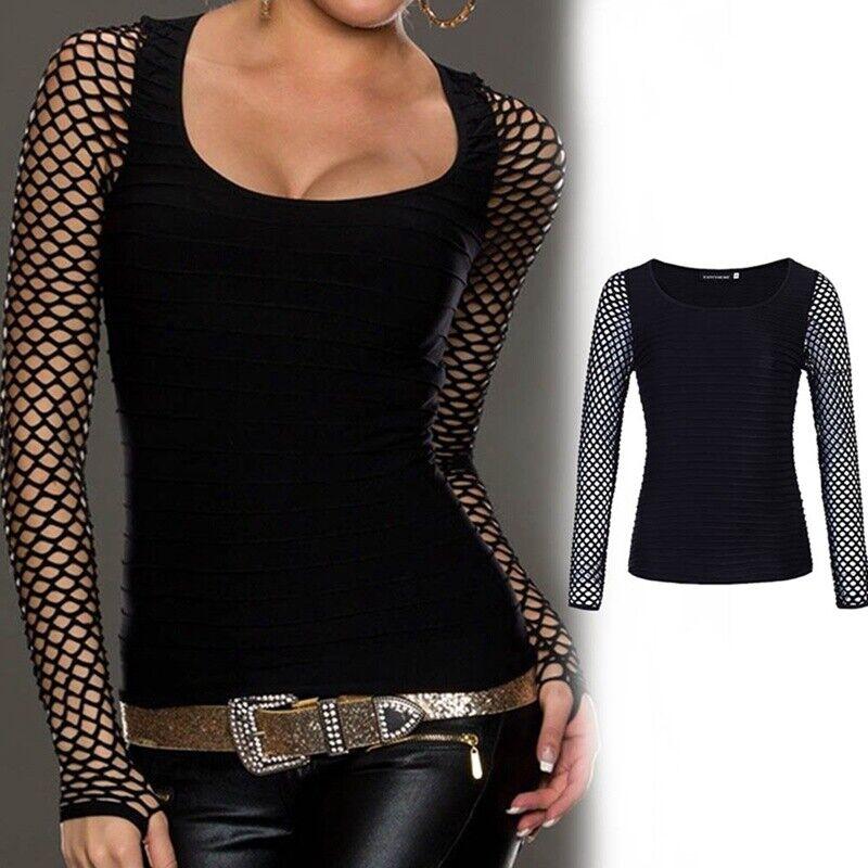 Women Slim Low Cut Long Sleeve Blouse Net Tops Punk Rock Gothic Fishnet Shirt 7