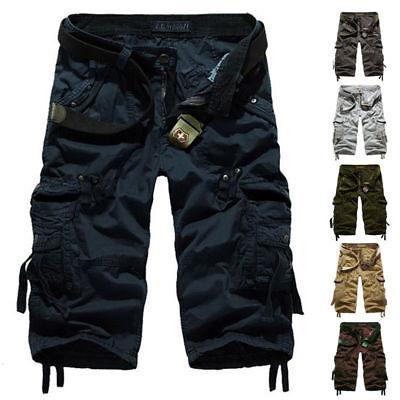 Summer 3/4 Long Length Shorts Kings Elasticated Waist Cotton Cargo Combat 6
