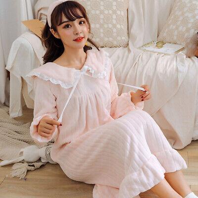 Lady Girls Corel Fleece Nightdress Long Sleeve Nightgown Sleepwear Lolita Sweet 3