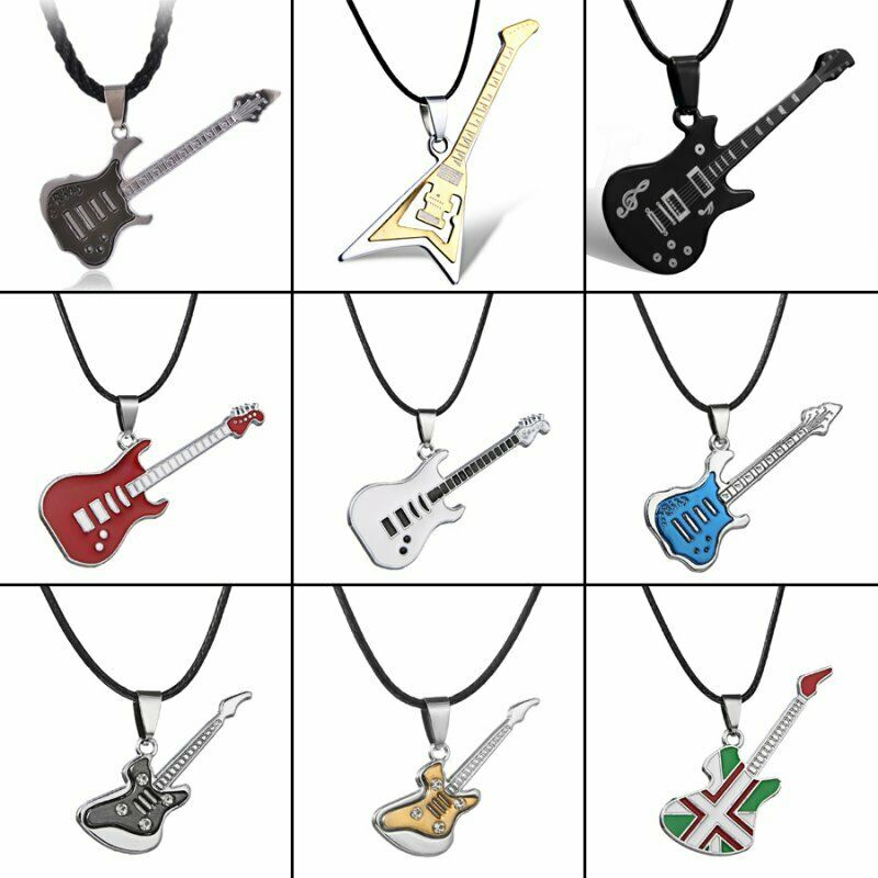 Silver Stainless Steel Men Women Punk Necklace Pendant Leather Chain Couple Gift 6