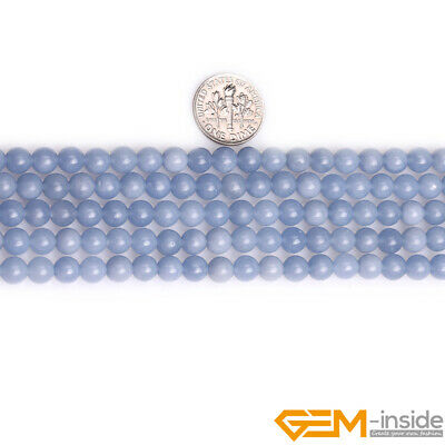 """Natural Blue Angelite Stone Round Loose Beads for Jewelry 15"""" 6mm 8mm 10mm 12mm 5"""