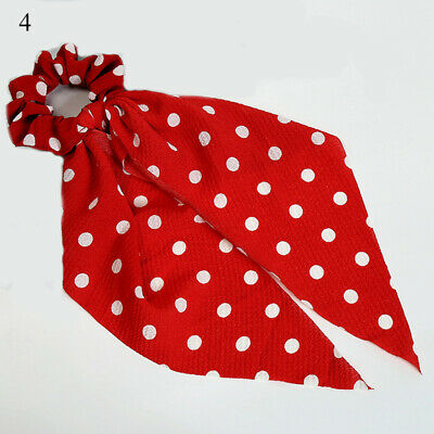 Simple Dot Stripes Floral Scrunchie Bow Streamers Hair Ties Ponytail Hair Ropes 7
