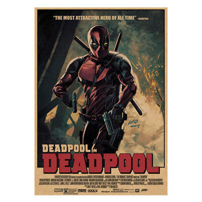 Avengers Deadpool Retro Kraft Paper Poster Cafe Bar Room Decor Painting Picture 11