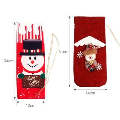 Red Wine Bottle Cover Bags Snowman Santa Claus Christmas Decoration Sequins New 7