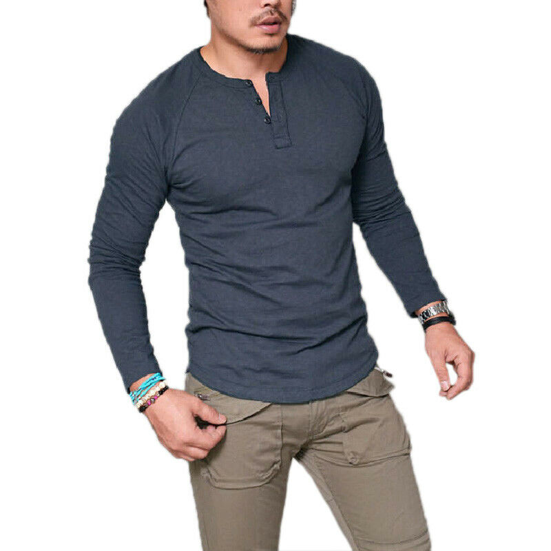 Mens Plain Muscle Tee Long Sleeve V Neck T-Shirt Casual Top Blouse Henley Shirts 8