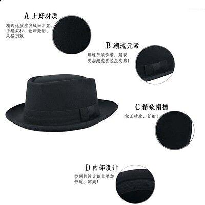 ... Wool Felt Crushable Porkpie Vintage Round Short Brim Fedora Hat Cap  Mens 3 2d771454852