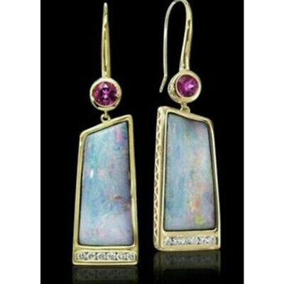 Silver Plated Vintage Turquoise Dangle Ear Hook Boho Hoop Women Jewelry Earrings 6