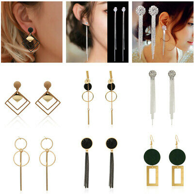 Fashion Women Statement Boho Geometric Big Pendant Ear Stud Dangle Drop Earrings 2