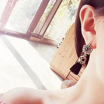 Women Thread Long Tassel Earrings Rhinestone Drop Statement Fringe Earrings 6
