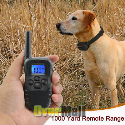 Waterproof 1000 Yard 2 Dog Shock Training Collar Pet Trainer With Remote 4 Modes 4