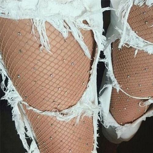 Women Crystal Rhinestone Fishnet Net Mesh Socks Stockings Tights Pantyhose S3