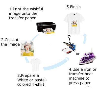 20 sheets A4 Iron Heat Transfer Paper For Light Cotton T-shirt 4