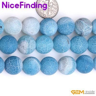 Wholesale Lot Blue Frost Matte Agate Stone Beads For Jewelry Making 6-14mm 15'' 5