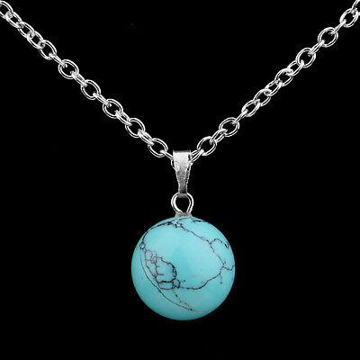 Round Ball Pendant Necklace Gemstone Rock Crystal Quartz Chakra Natural Stone 3