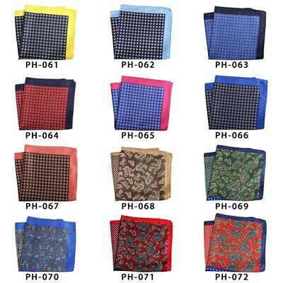 32cm Unisex Handkerchief Paisley Floral Plaids Prints Soft Thin Pocket Square 6