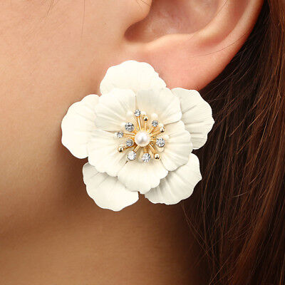 Fashion Boho Painting Big Flowers Ear Stud Earrings Women Charm Jewelry Gifts 10