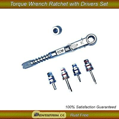 Dental Implant Torque Wrench Ratchet 10-40Ncm & 4 x Drivers Set New 2