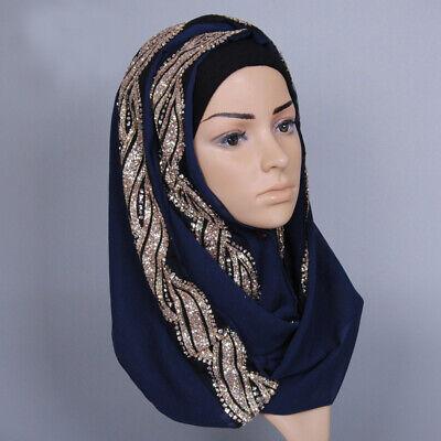 Muslim Women Hijab Rhinestone Long Scarf Islamic Shawls Head Wrap Scarves Shayla 3