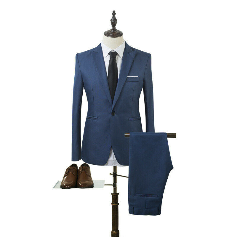 Mens Slim Fit Formal Business Work Tuxedos Suit Blaze Coat Pants Wedding Prom 6