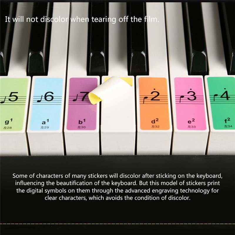 2bf1e40ef6f Removable 88-Key Electronic Keyboard Piano Key Note Stickers Labels for  Beginner 5 5 of 9 ...