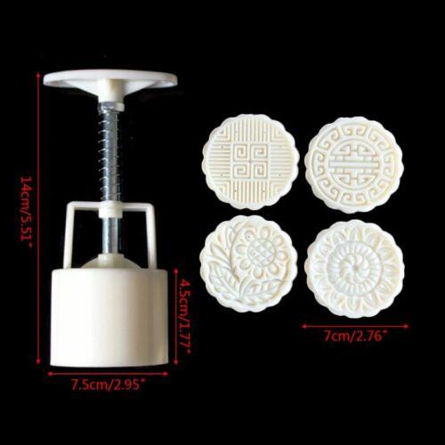 4pcs 125g 3D Flower Stamps Moon Cake Decor Mould Barrel Round Mooncake Mold 4
