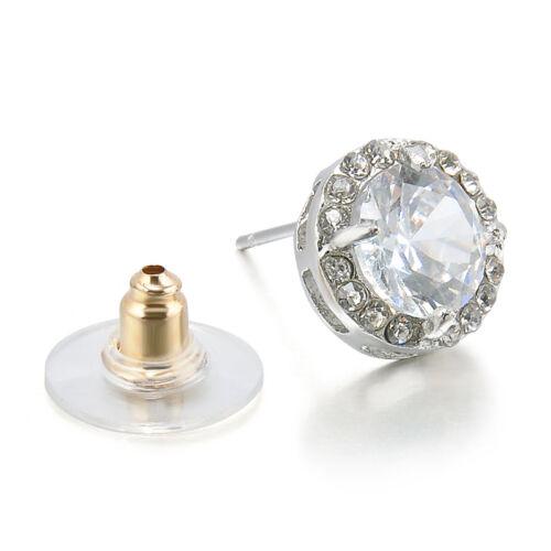 Women's 18K White Gold Plated Crystal Zircon Inlaid Ear Stud Earrings Jewelry