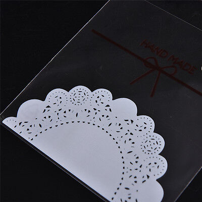 100X lace bowknot Self Adhesive DIY Cookie Candy Package Gift Bag Cellophane  EF