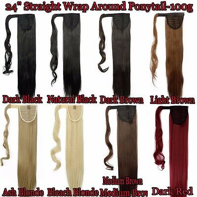 Remeehi Additional Wrap Around Silky Straight High Ponytail Clip In Remy Human Hair Extensions 80g 15