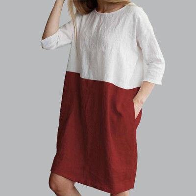 AU Baggy Womens Casual Short Sleeve Dresses Cotton Linen Ladies Tunic Tops Dress