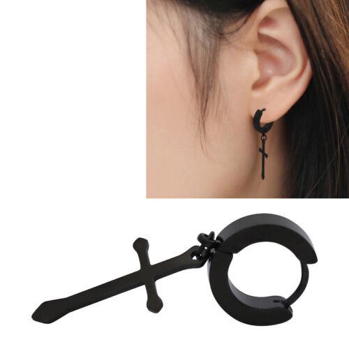 e494b7a02398cd Women Men Stainless Steel Cross Drop Dangle Earrings Hoop Huggie Hinged  Jewelry 7 7 of 8 See More