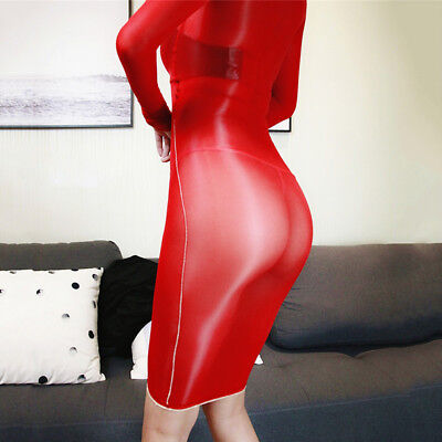 Women Glossy Oil Shiny Bodystocking See Through Sheer Bodysuit Tights Bodyhose 2