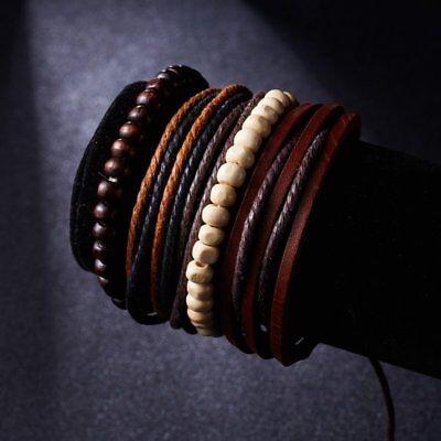 4Pcs Punk Multilayer Leather Bracelet Men's  Women Wristband Bangle Jewelry Set 12