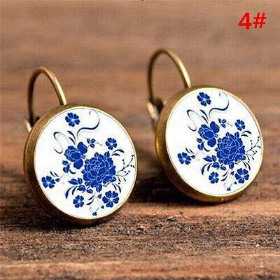 Elegant Round Stud Ear Vintage Women Girls Lady Crystal Flower Hoop Earrings 5