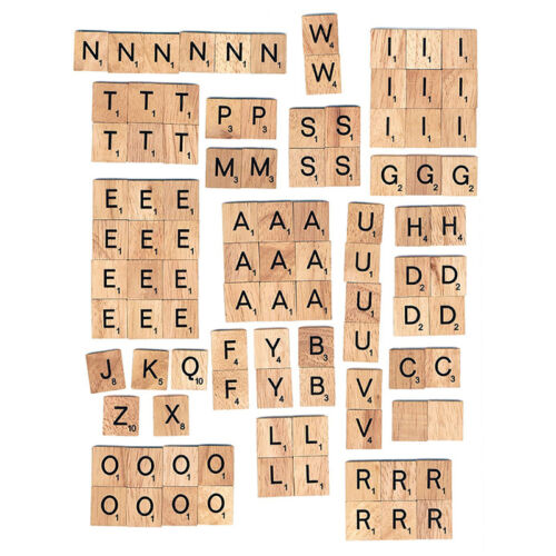100 Wood Scrabble Tiles Letter Alphabet Scrabbles Number English Word Kids Learn 5