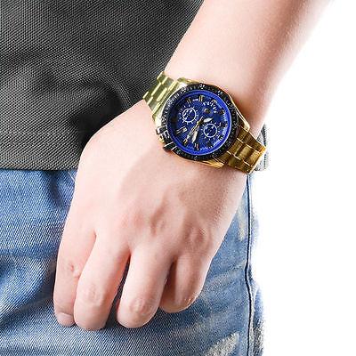 Luxury Mens Black Dial Gold Stainless Steel Date Quartz Analog Sport Wrist Watch 6