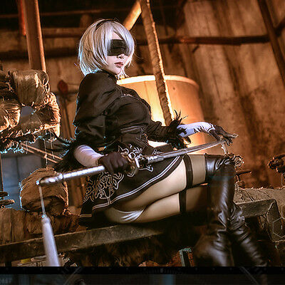 2B Cosplay Nier Automata Outfit Game Full Costume Glove Hairband Fancy Dress UK