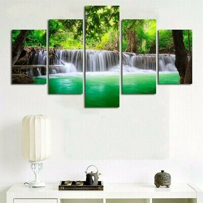 5 Panel Waterfall Canvas Print Painting Art Wall Picture Home Decor Unframed s 3
