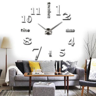 3D Large Wall Clock Mirror Sticker Big Watch Sticker Home Decor Unique Gift DIY 4