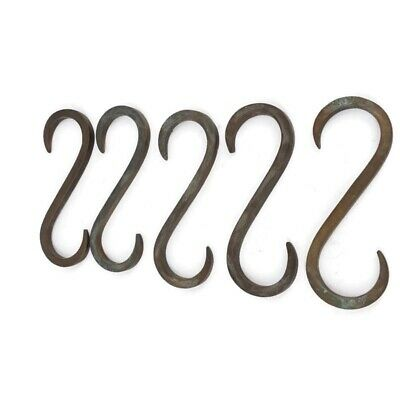 """10 """" S  """" HOOK heavy brass boat cars tieing rope hooks age cleat 8.5cm 2"""