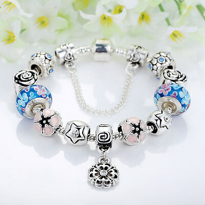 European 925 Silver Charms Bracelet DIY With Flower Bead Women Christmas Jewelry 3