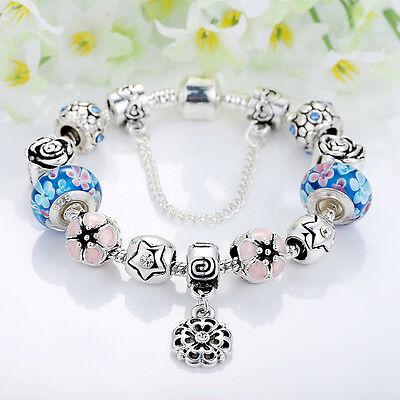 European 925 Silver Charms Bracelet DIY With Flower Bead Women Christmas Jewelry 3