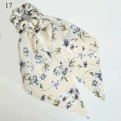 Simple Dot Stripes Floral Scrunchie Bow Streamers Hair Ties Ponytail Hair Ropes 8