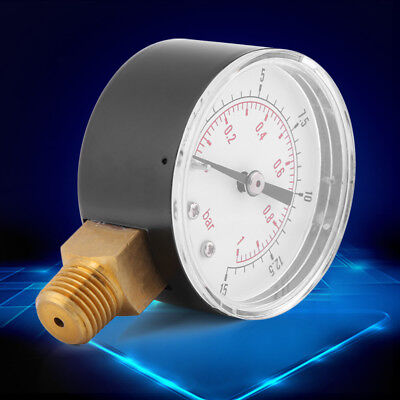 Mini Low Pressure Gauge For Fuel Air Oil Or Water 0-15psi/0-1bar BSPT Manometer