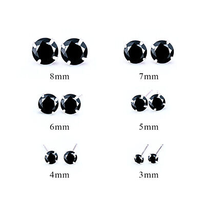 Fashion Woman Silver Plated Round Cubic Zirconia Crystal Stud Earrings Jewelry 3