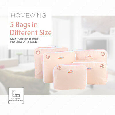 5Pcs Packing Cubes Travel Pouches Luggage Organiser Clothes Suitcase Storage Bag 8