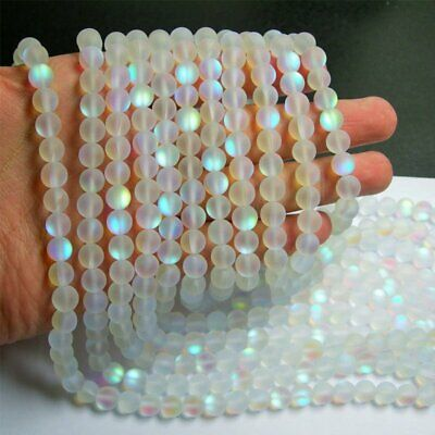 Wholesale Mystic Aura Quartz Gemstone Loose Beads Holographic Matte Bracelet 6mm 9