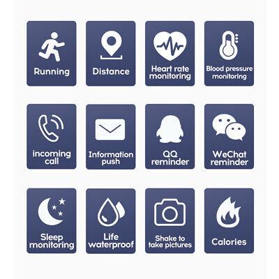 Black Smart Watch Bluetooth Heart Rate Blood Pressure Monitor Fitness Tracker UK 3