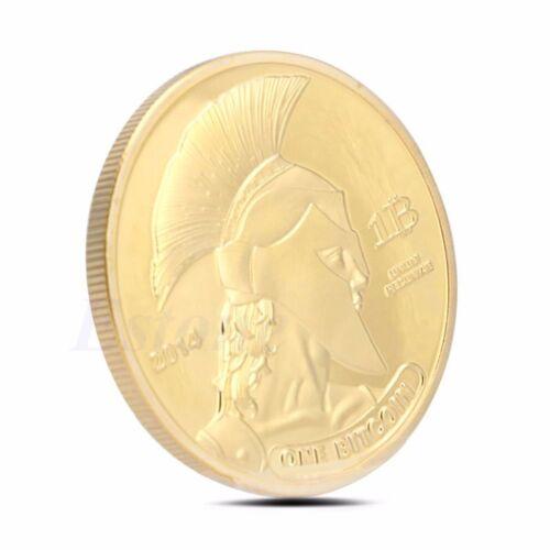 Gold Plated Titan Bitcoin Commemorative Coin BTC Collectible Collection Physica 8